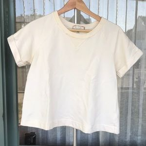 Cream Short sleeved sweatshirt